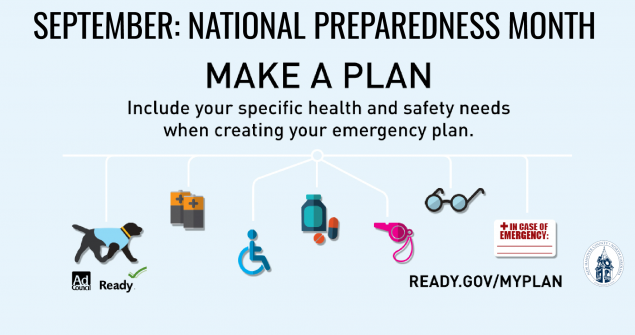 National Preparedness Month graphic - Make a plan, include specific health and safety needs.