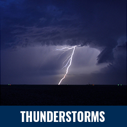 Thunderstorms - Photo: Dark clouds and lightning over a field at night. Click to learn more about thunderstorms.